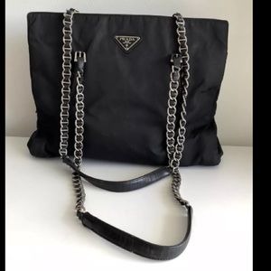 PRADA BLACK NYLON LEATHER CHAIN STRAP BAG